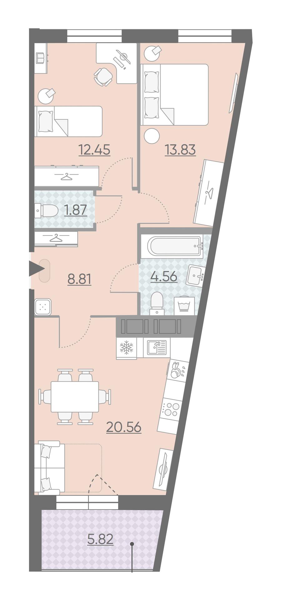 2-комнатная 64 м<sup>2</sup> на 7 этаже