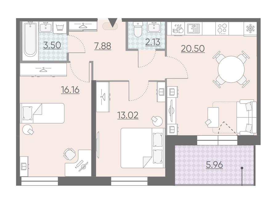 2-комнатная 66 м<sup>2</sup> на 6 этаже