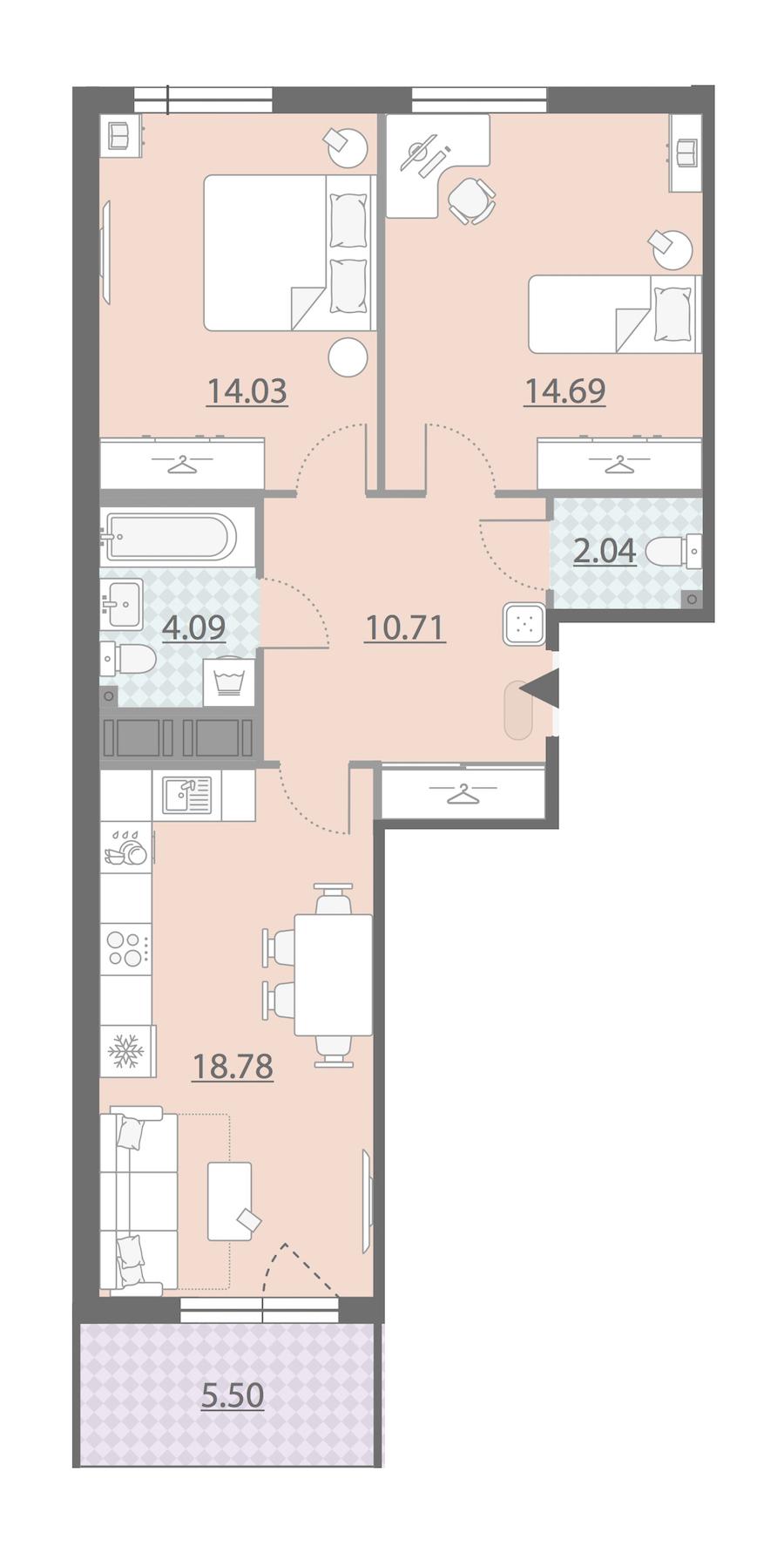 2-комнатная 67 м<sup>2</sup> на 8 этаже