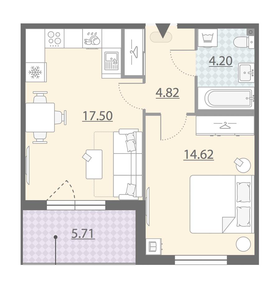 1-комнатная 44 м<sup>2</sup> на 9 этаже