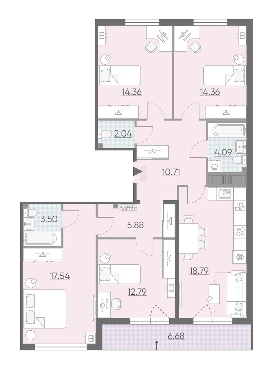 4-комнатная 107 м<sup>2</sup> на 13 этаже