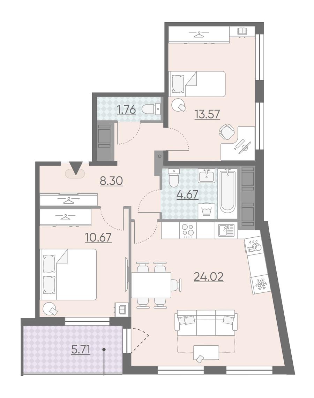 2-комнатная 65 м<sup>2</sup> на 8 этаже
