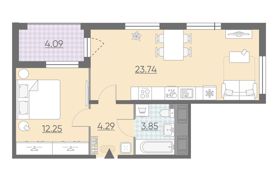 1-комнатная 46 м<sup>2</sup> на 13 этаже