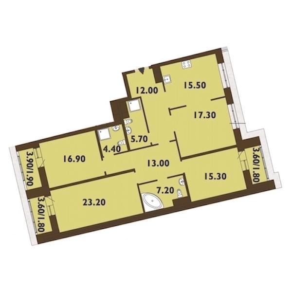 4-комнатная 137 м<sup>2</sup> на 14 этаже