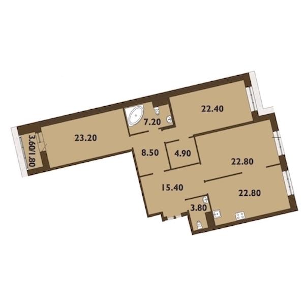 3-комнатная 133 м<sup>2</sup> на 11 этаже