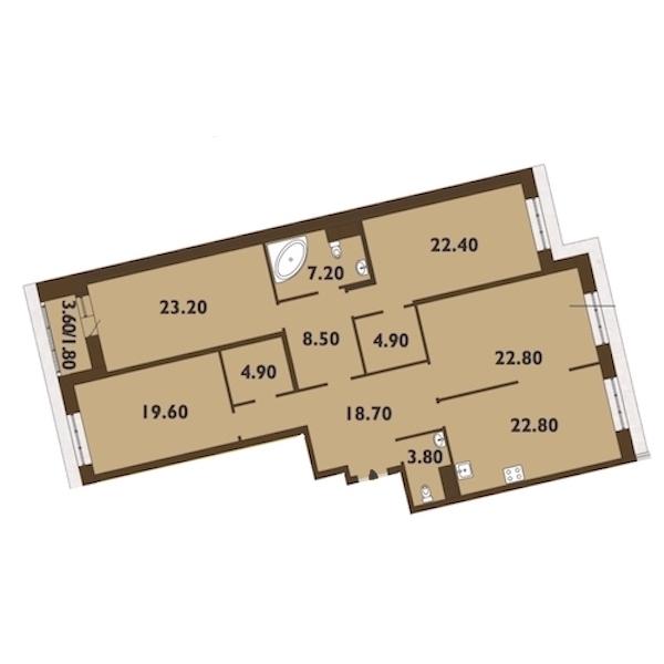 4-комнатная 161 м<sup>2</sup> на 13 этаже