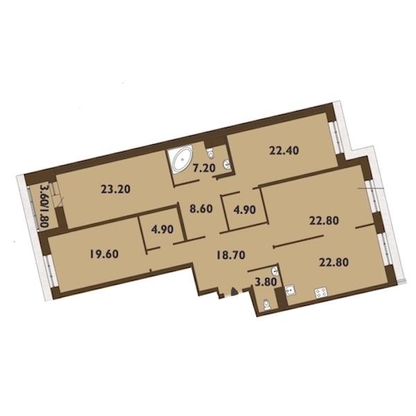 4-комнатная 161 м<sup>2</sup> на 14 этаже