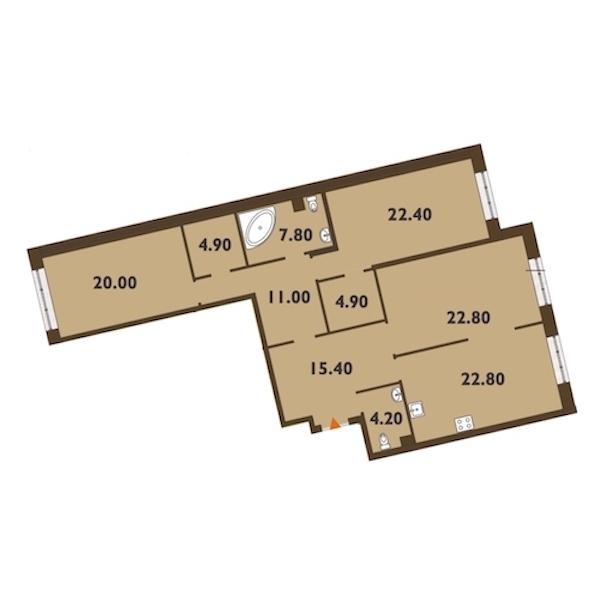 3-комнатная 137 м<sup>2</sup> на 2 этаже