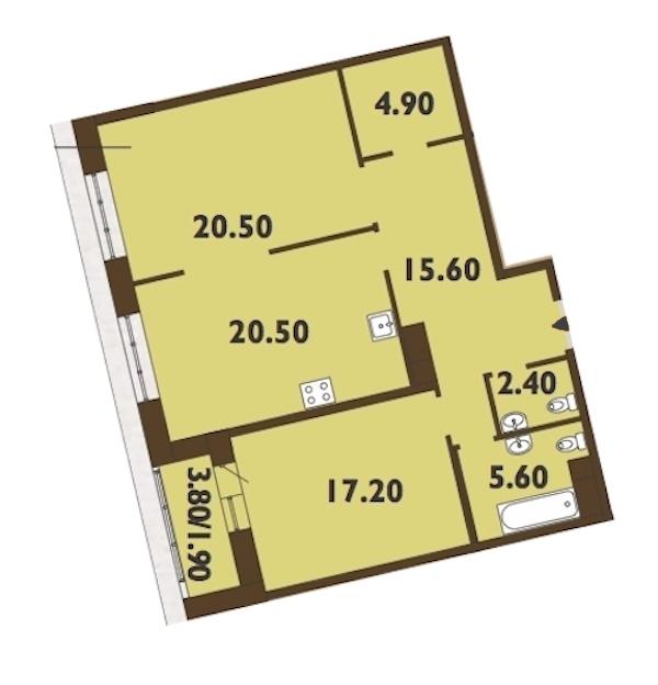 2-комнатная 89 м<sup>2</sup> на 11 этаже