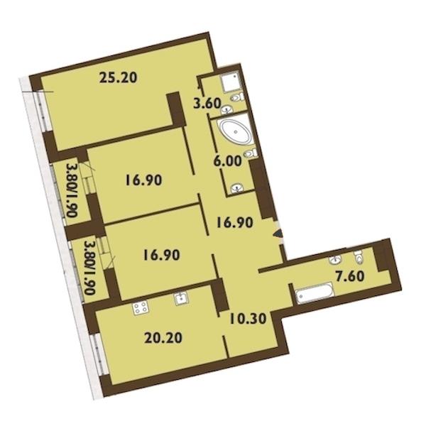 3-комнатная 128 м<sup>2</sup> на 14 этаже