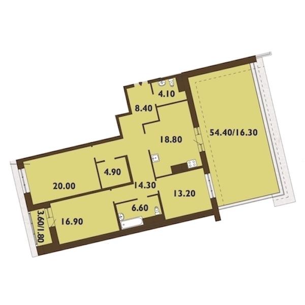 3-комнатная 126 м<sup>2</sup> на 11 этаже