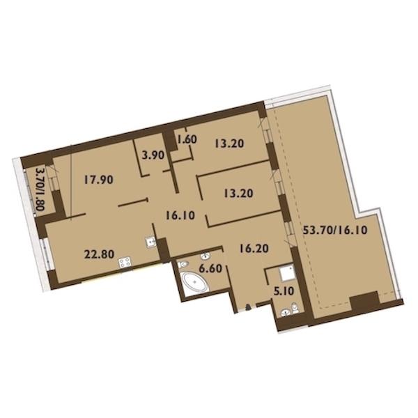 3-комнатная 136 м<sup>2</sup> на 11 этаже
