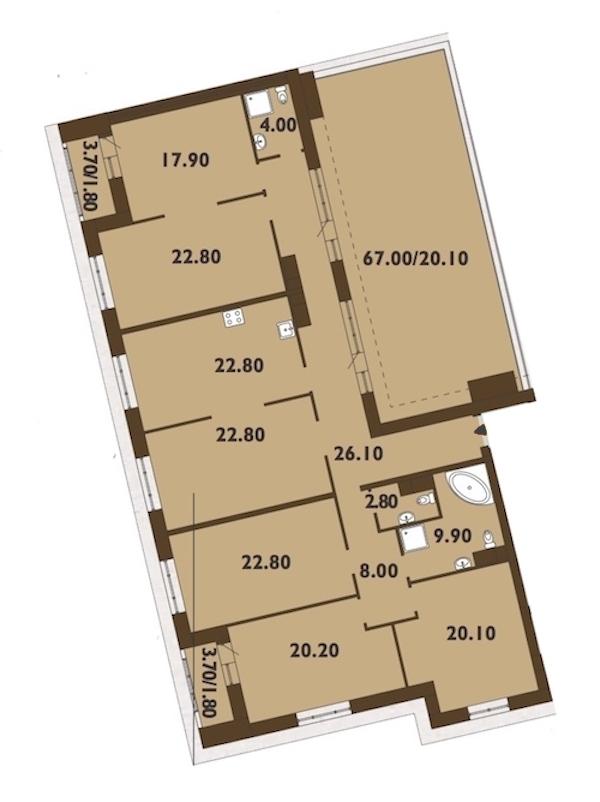 6-комнатная 225 м<sup>2</sup> на 12 этаже