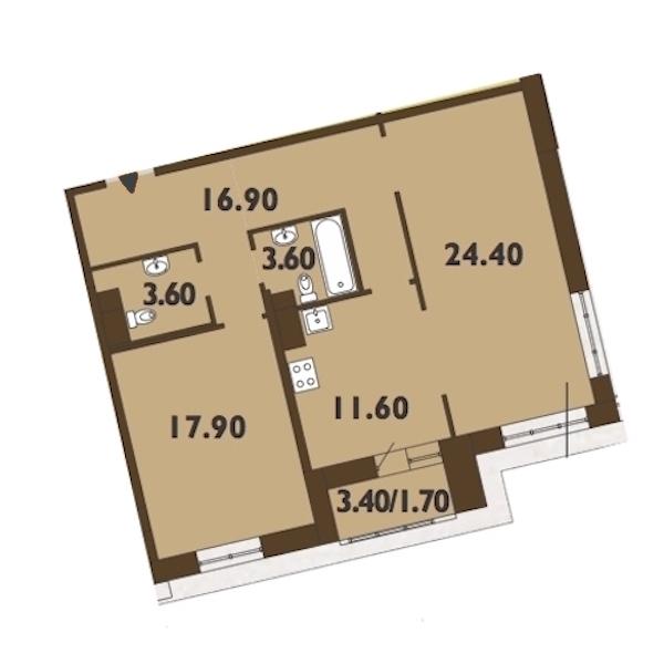 2-комнатная 80 м<sup>2</sup> на 9 этаже