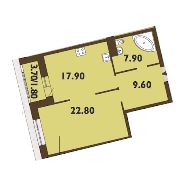 1-комнатная 60 м<sup>2</sup> на 10 этаже