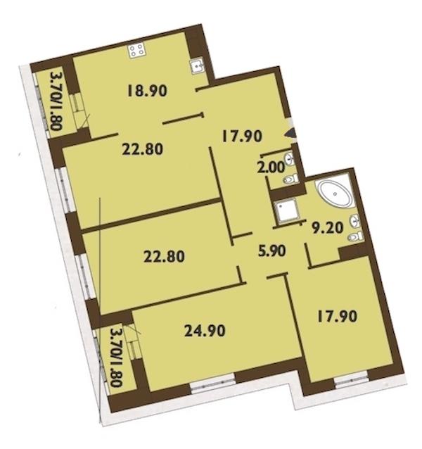 4-комнатная 147 м<sup>2</sup> на 11 этаже