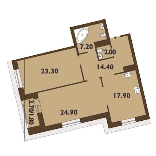 2-комнатная 92 м<sup>2</sup> на 10 этаже