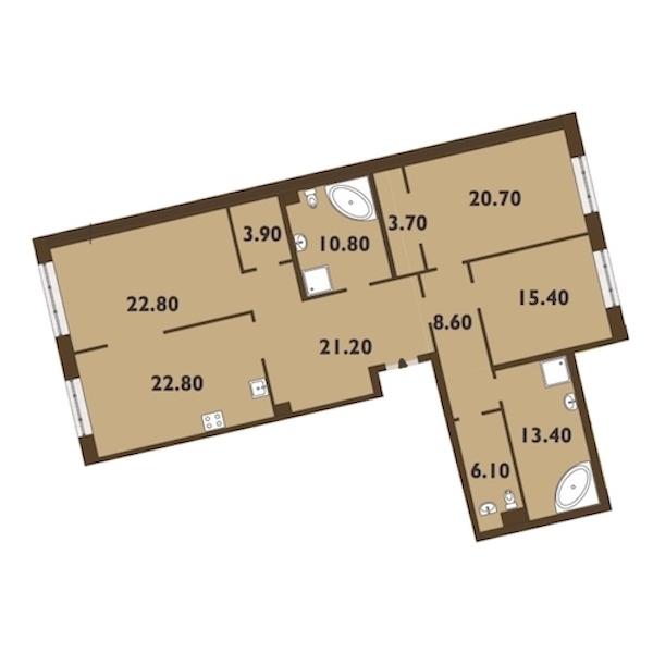 3-комнатная 150 м<sup>2</sup> на 2 этаже