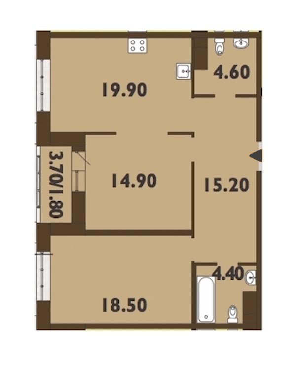 2-комнатная 79 м<sup>2</sup> на 13 этаже