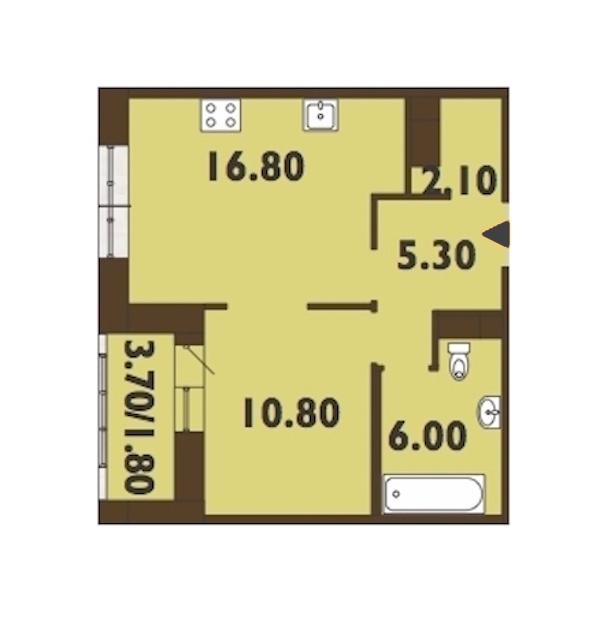 1-комнатная 43 м<sup>2</sup> на 13 этаже