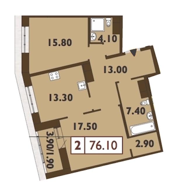 2-комнатная 76 м<sup>2</sup> на 12 этаже