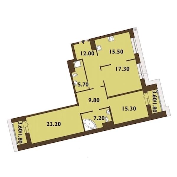 3-комнатная 110 м<sup>2</sup> на 12 этаже