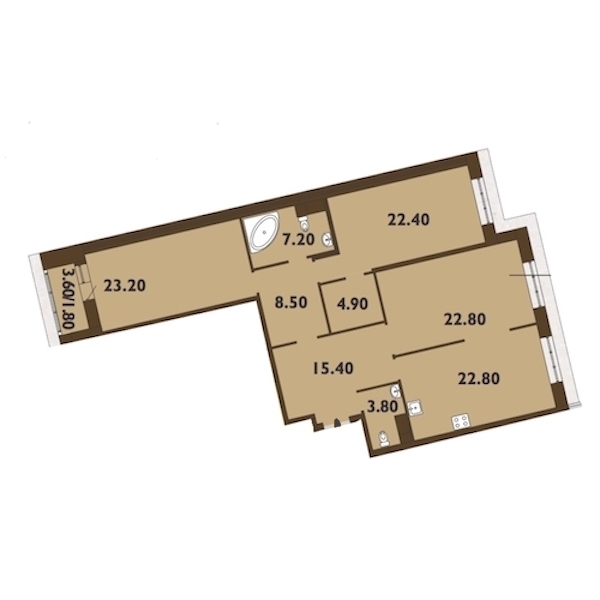3-комнатная 133 м<sup>2</sup> на 9 этаже