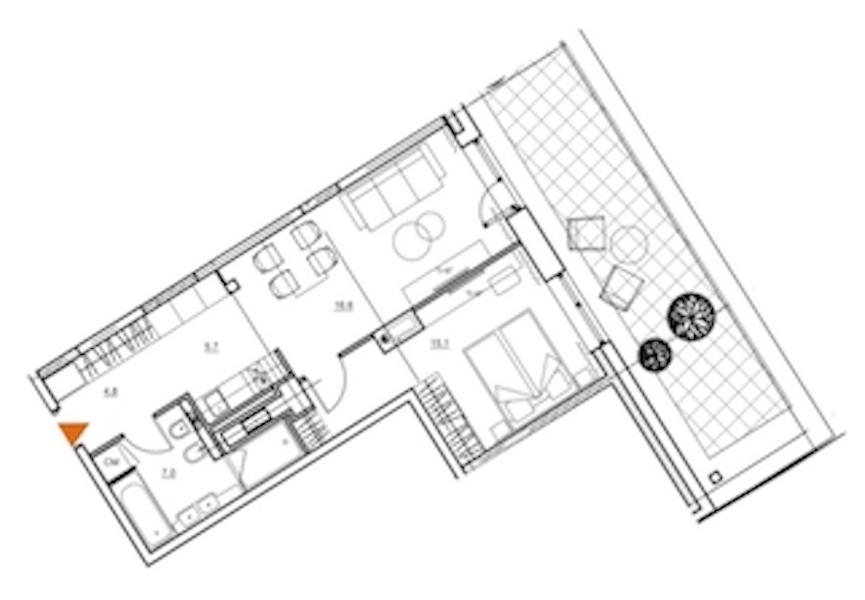 1-комнатная 56 м<sup>2</sup> на 8 этаже
