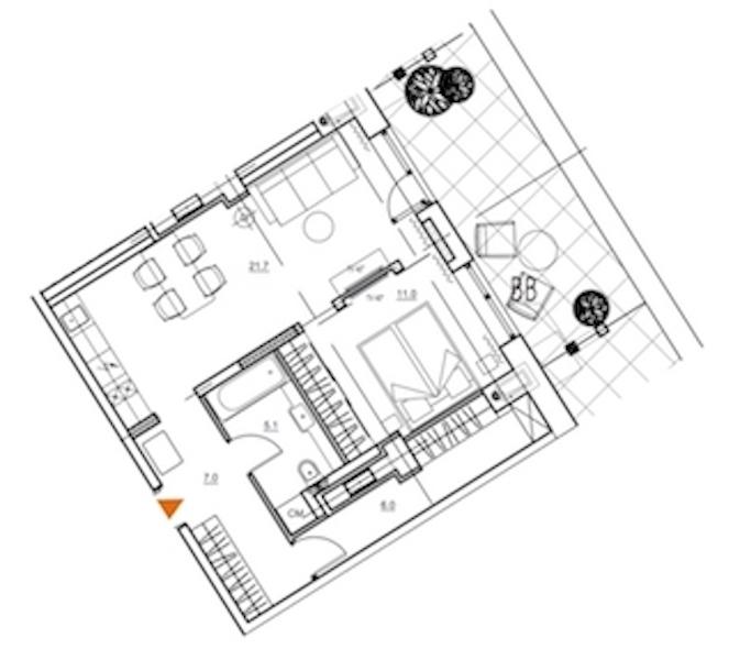 1-комнатная 59 м<sup>2</sup> на 9 этаже
