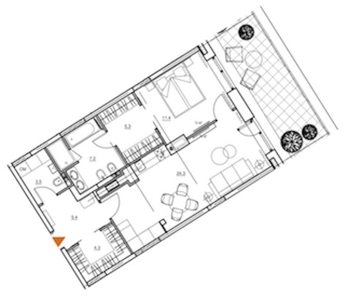 2-комнатная 66 м<sup>2</sup> на 8 этаже