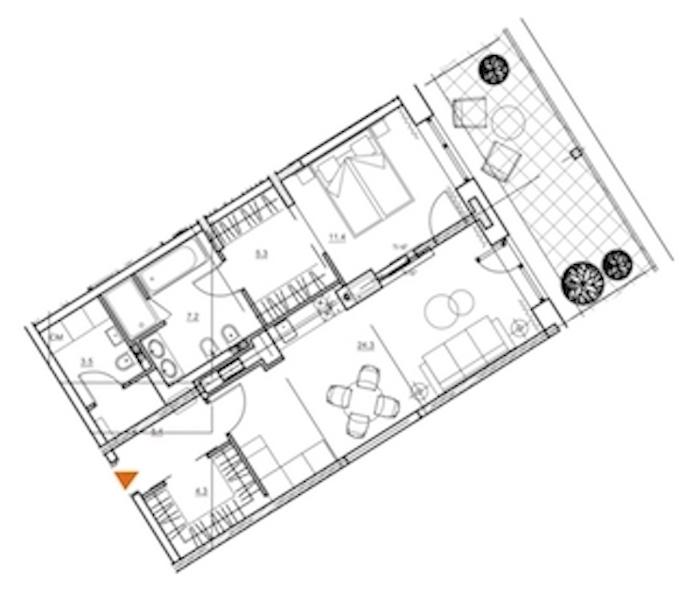 1-комнатная 63 м<sup>2</sup> на 8 этаже