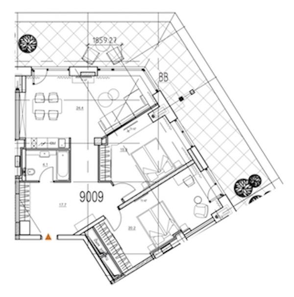 2-комнатная 94 м<sup>2</sup> на 9 этаже