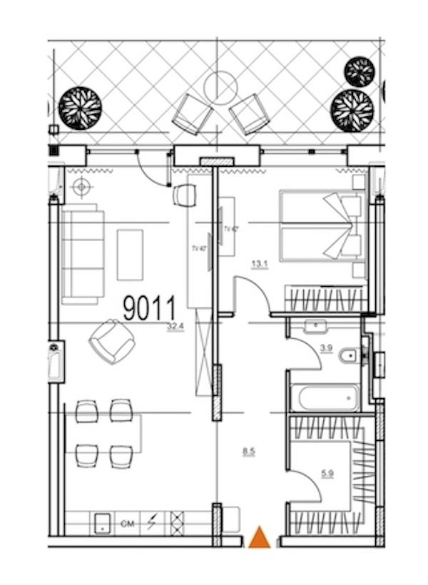 2-комнатная 69 м<sup>2</sup> на 9 этаже