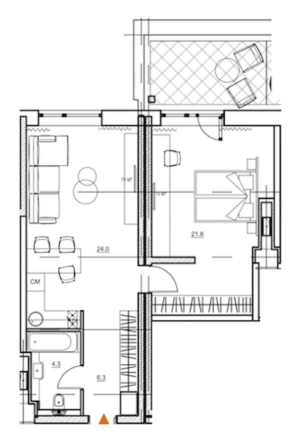 1-комнатная 59 м<sup>2</sup> на 8 этаже