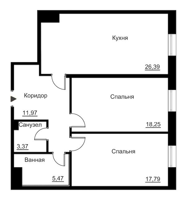 2-комнатная 86 м<sup>2</sup> на 2 этаже