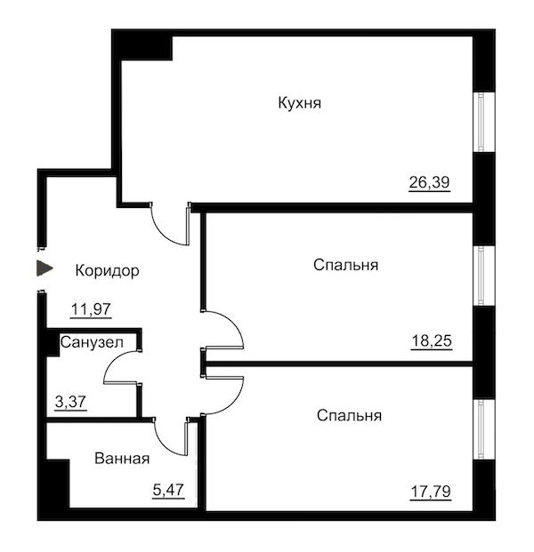 2-комнатная 86 м<sup>2</sup> на 3 этаже