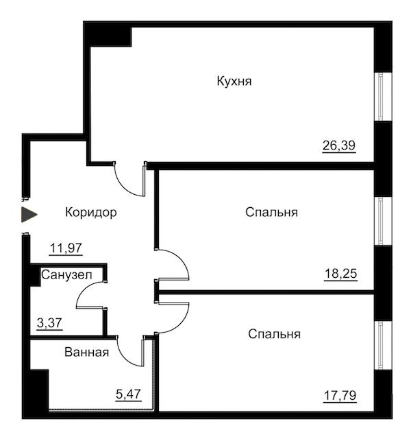 2-комнатная 86 м<sup>2</sup> на 5 этаже