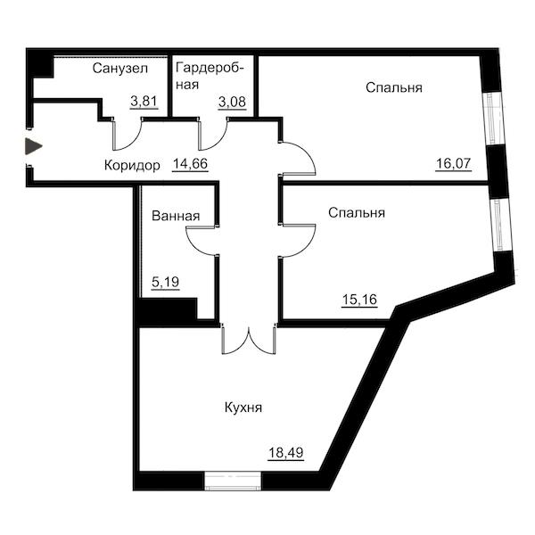 2-комнатная 76 м<sup>2</sup> на 2 этаже