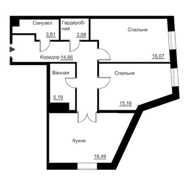 2-комнатная 76 м<sup>2</sup> на 3 этаже