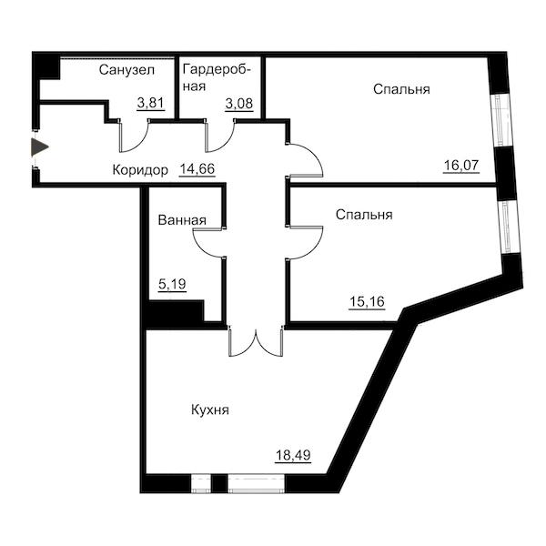 2-комнатная 76 м<sup>2</sup> на 5 этаже