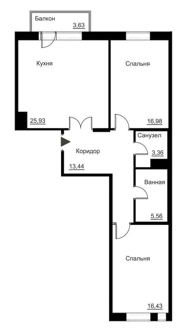 2-комнатная 83 м<sup>2</sup> на 6 этаже