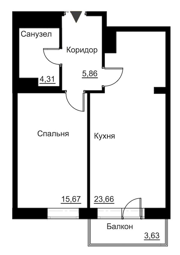 1-комнатная 51 м<sup>2</sup> на 6 этаже