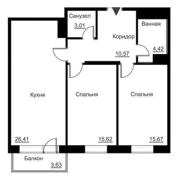 2-комнатная 77 м<sup>2</sup> на 2 этаже