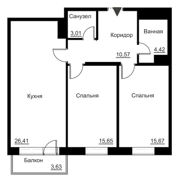 2-комнатная 77 м<sup>2</sup> на 4 этаже