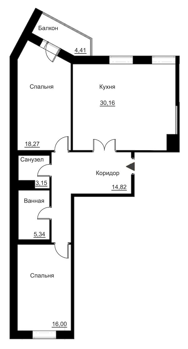 2-комнатная 90 м<sup>2</sup> на 2 этаже