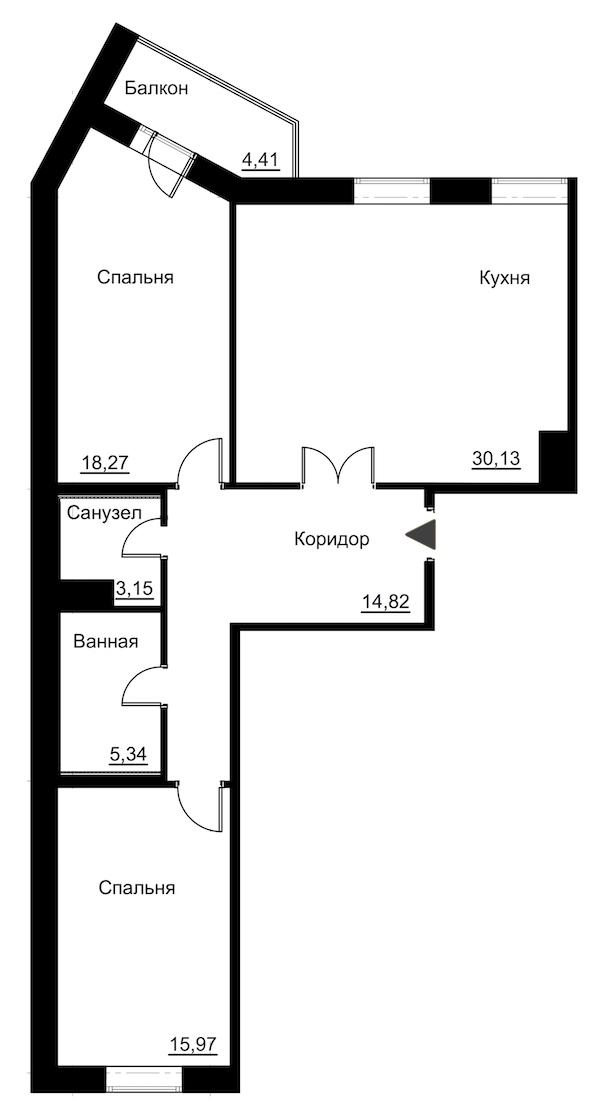 2-комнатная 90 м<sup>2</sup> на 4 этаже