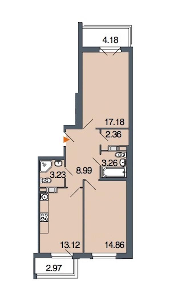 2-комнатная 63 м<sup>2</sup> на 2 этаже