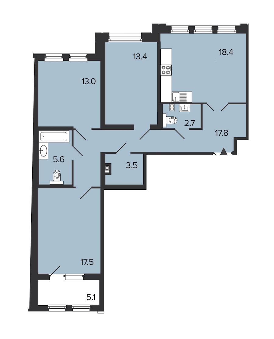 3-комнатная 91 м<sup>2</sup> на 3 этаже
