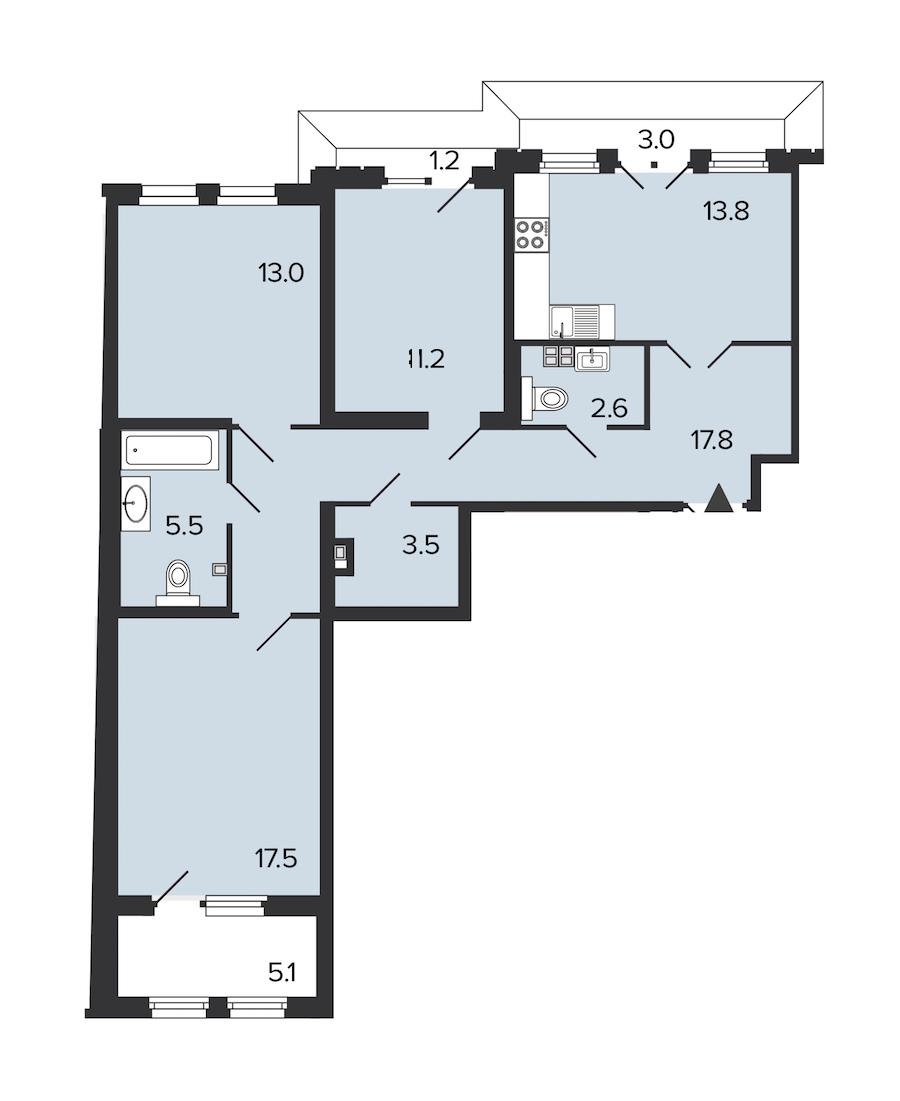 3-комнатная 84 м<sup>2</sup> на 4 этаже