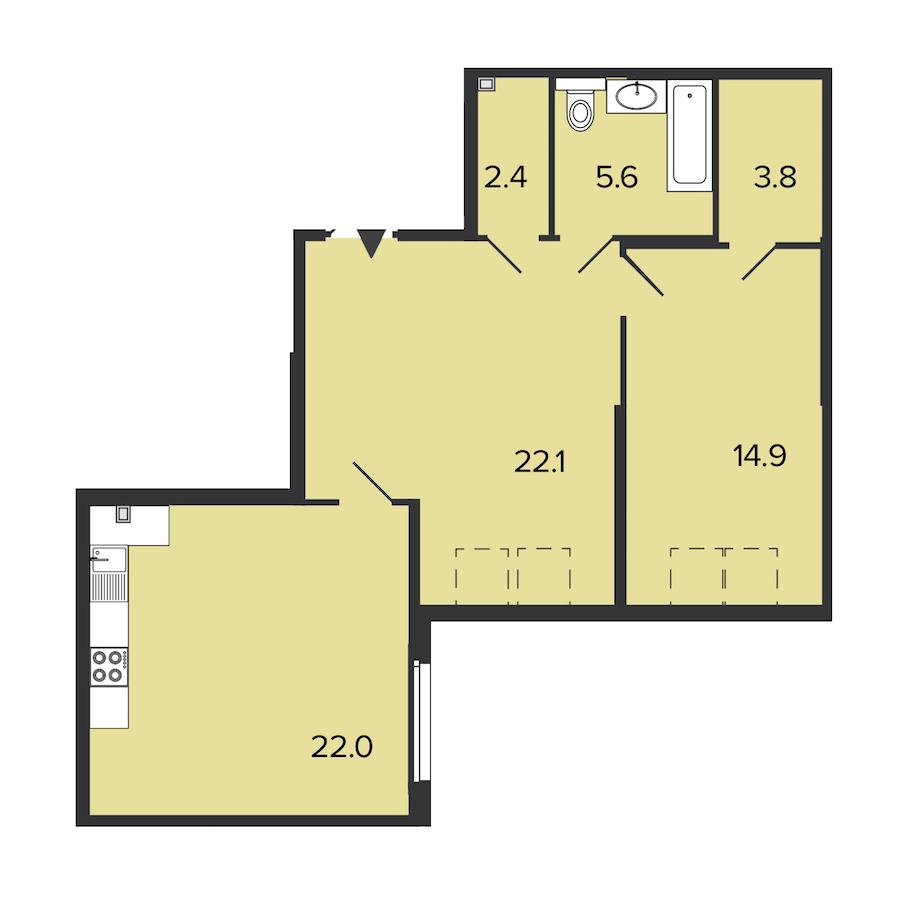 1-комнатная 65 м<sup>2</sup> на 4 этаже